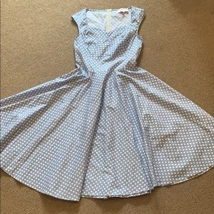 50s Inspired Baby Blue Flare A-Line Dress